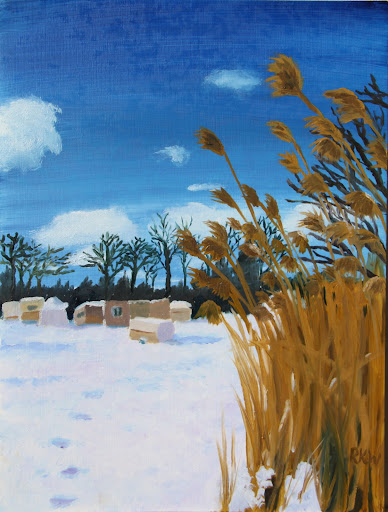 PA snow fall. By Rebecca Wang. Oil on paper