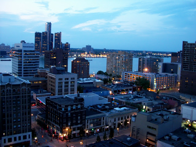 Downtown Windsor and Detroit as seen from a 21st story apartment
