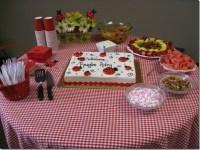Ladybug Baby Shower Table Ideas Photograph   The food table