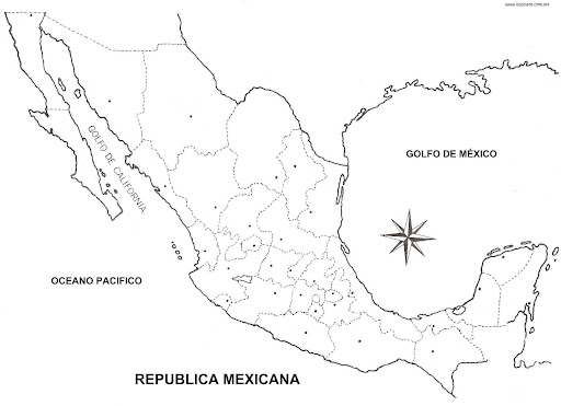Map of Mexico with political division coloring pages