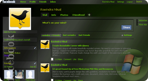 windows Green black transpa%5B6%5D Trick To Install/Change Themes on Facebook with Stylish