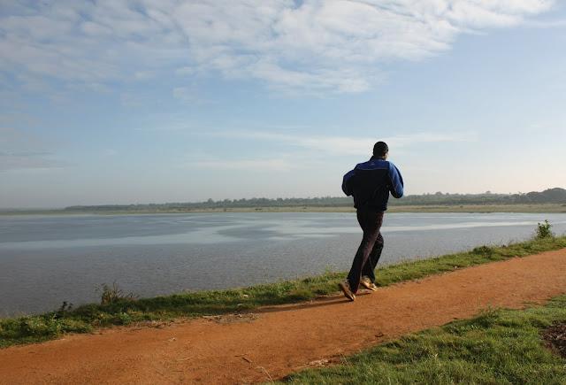 A jogger at Hesaraghatta lake