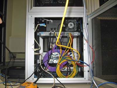 Resurrection's cabinet with servers and interconnect cables