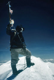 On top of the world: Tenzing on the summit of Mt Everest. Photograph taken by Hillary, 29 May 1953