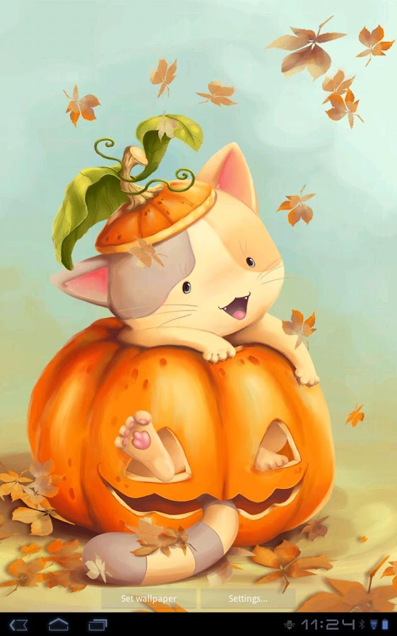 Falling Leaves Live Wallpaper Apps Android Pumpkin Kitten Live Wallpaper Android Apps On Google Play