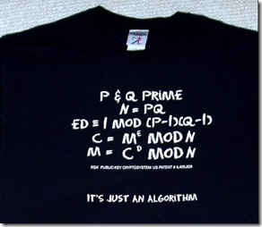 RSA Algorithm on a T-Shirt