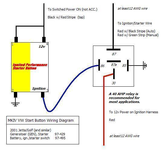 24v starter relay wiring diagram 120 240 single phase motor vwvortex com engine start button installed short write up w pics