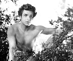 Buster Crabbe as Tarzan, high in a tree