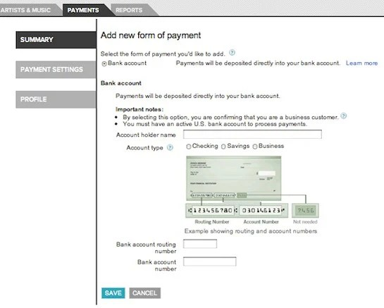 Set Up Bank Account Information And A Test Deposit Artist Hub Help
