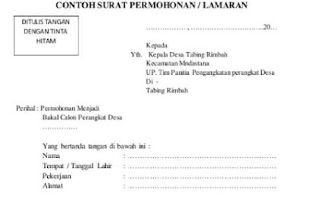 Contoh Surat Lamaran Kerja Staf Desa Cute766
