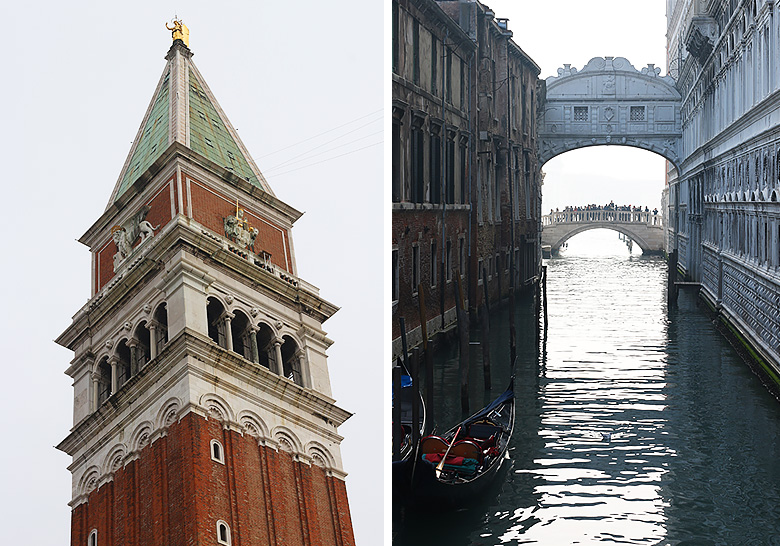 Venice city guide : the Campanile on Saint Mark's square and the Bridge of Sighs.