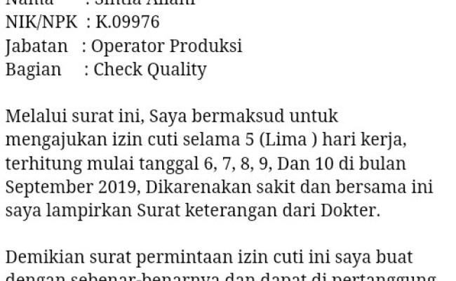 Contoh Surat Izin Tidak Masuk Kerja Untuk Karyawan Pt Pabrik Dan Swasta Syilent Cute766