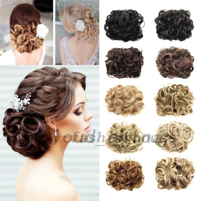 details about large comb clip in curly hair piece chignon updo wedding hairpiece extension bun