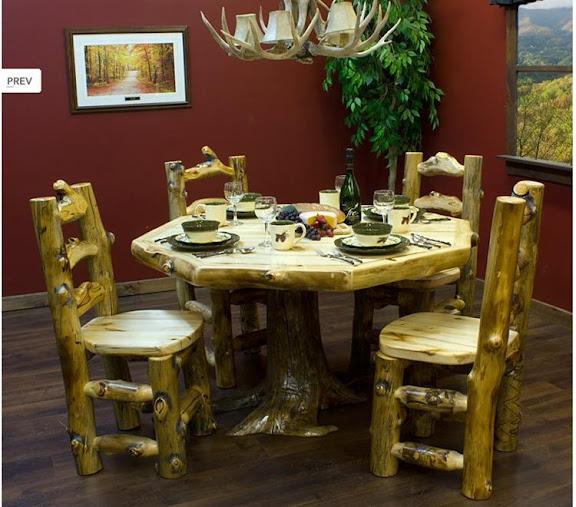 Aspen log dining furniture