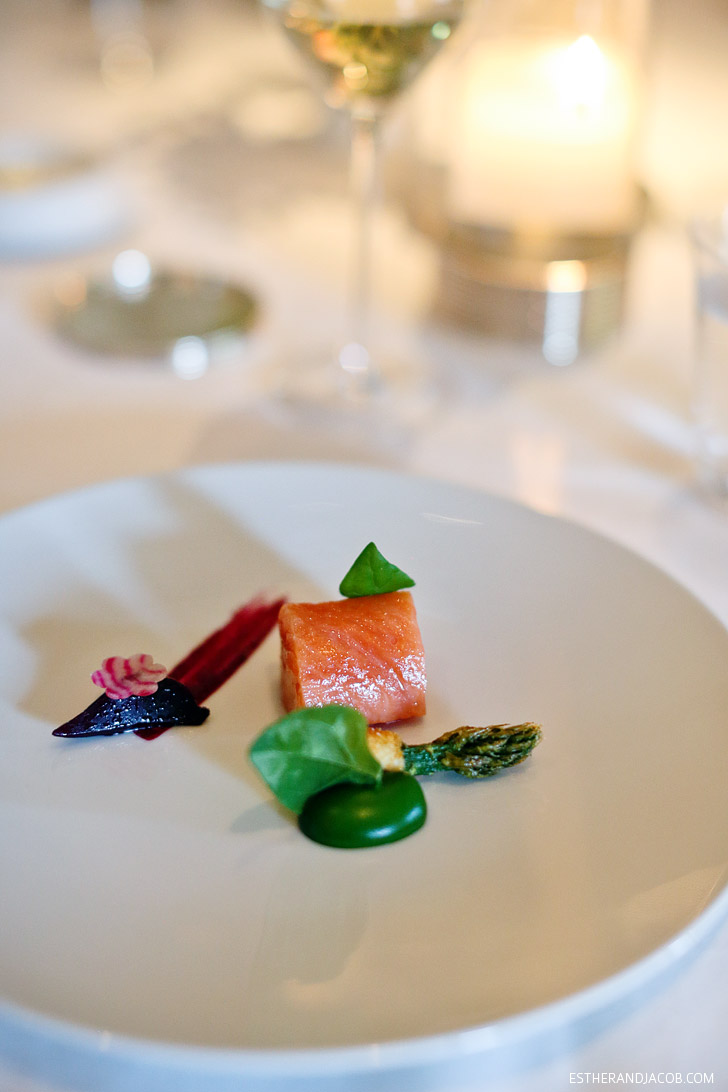The French Laundry Yountville Menu: Slow-Cooked Fillet of Wild King Salmon.