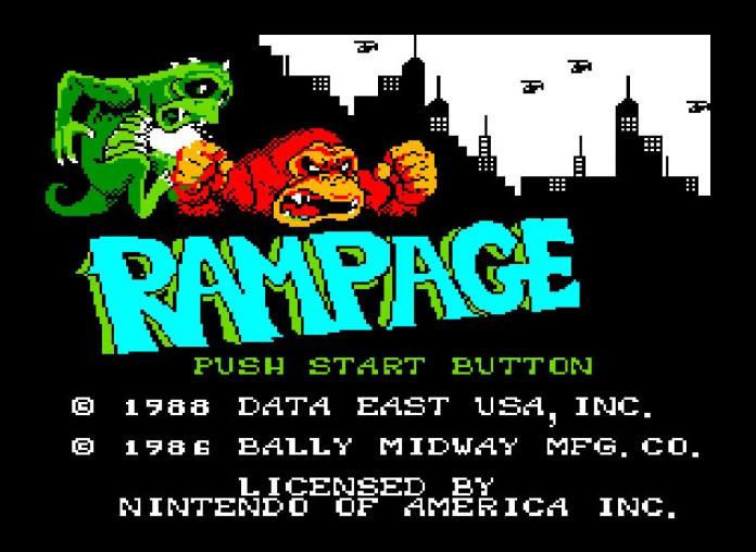 Rampage NES tela título