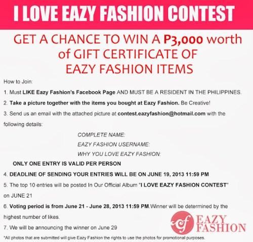 I Love Eazy Fashion Contest Mechanics