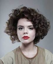 short thick curly hairstyle side