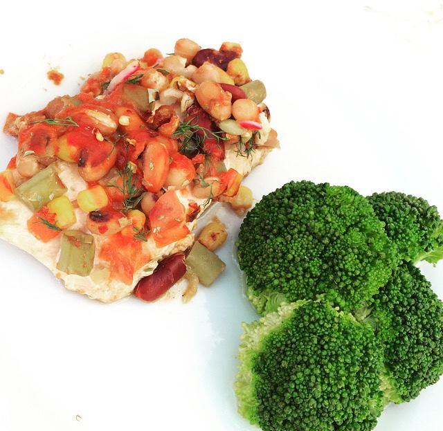 salmon and bean bake
