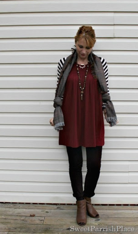 red-tunic-brown-leggings-stripes-plaid-booties-1