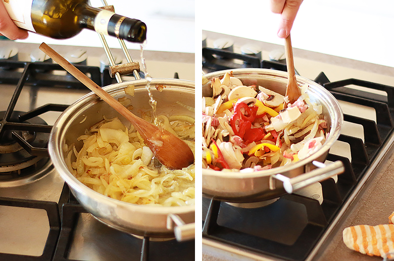 Recipe with onions and bell peppers.