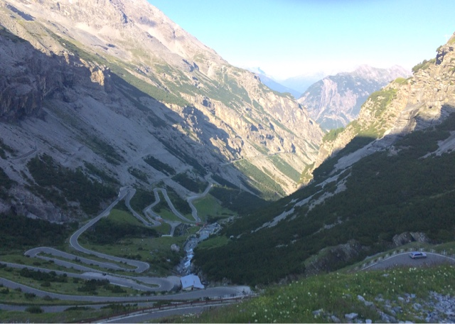 Stelvio pass: border of Switzerland and Italy in the Alps