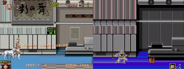 O mesmo estágio 1-1 de Shadow Dancer no arcade e no Master System