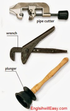 pipe cutter, wrench, pluger