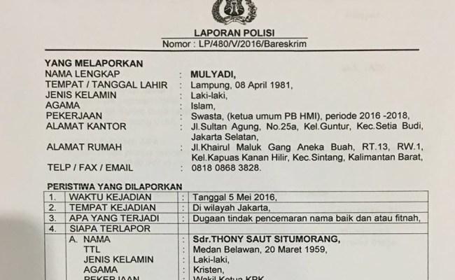 Contoh Surat Laporan Pencemaran Nama Baik Ke Polisi Kumpulan Contoh Laporan Cute766
