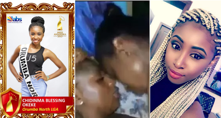 ANOTHER L*SBIAN VIDEO OUT!!!! SEE THE SEVEN MAN GANG BLACKMAILING MISS ANAMBRA CHIDINMMA OKEKE (PHOTOS)