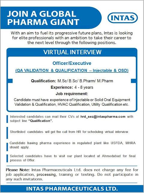 Job Availables, Intas Pharma Virtual Interviews for Bsc/ MSc/ B.Pharm/ M.Pharm