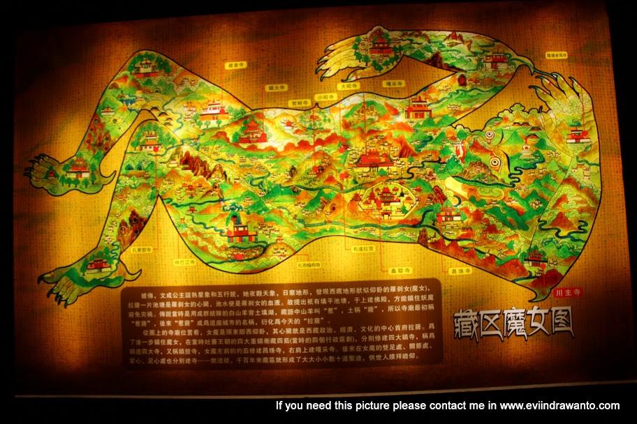 Peta Daratan Tibet yang digambarkan seperti tubuh wanita penyihir