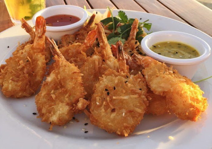 rooftop lounge coconut breaded shrimp
