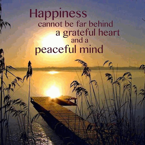 Happiness Cannot Be Far Behind A Grateful Heart An A Peaceful Mind.