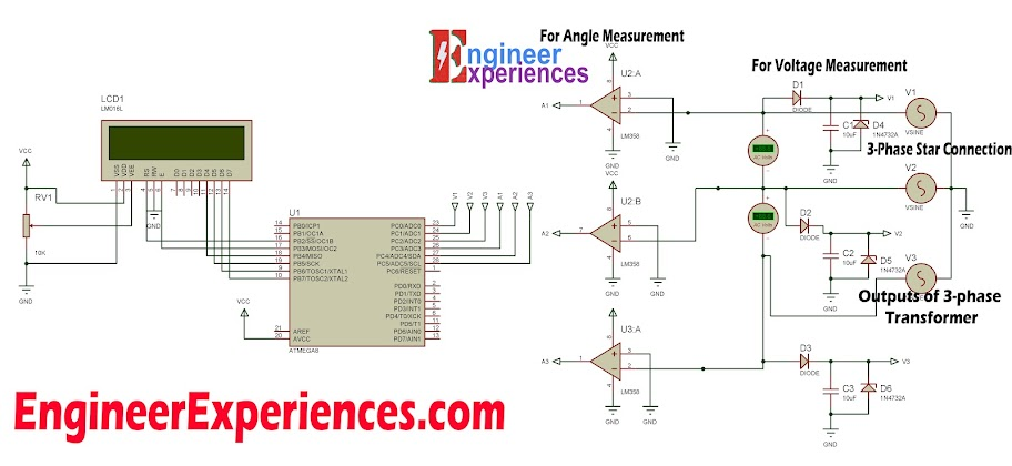 3 phase voltage measurement using avr microcontroller rh engineerexperiences com three phase circuit diagrams three phase inverter circuit diagrams