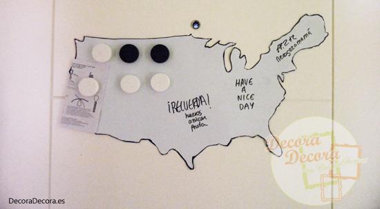 Pizarra reciclada como mapa pizarra.