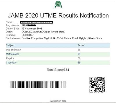 check jamb utme result online