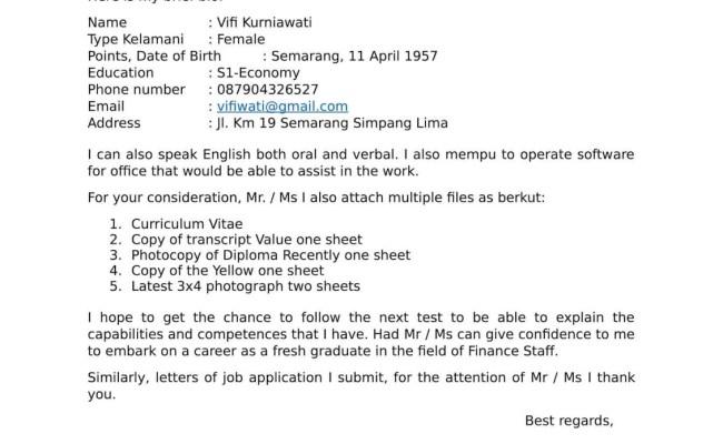 Contoh Surat Lamaran Kerja Fresh Graduate Dalam Bahasa Inggris Jawat Kosong Cute766