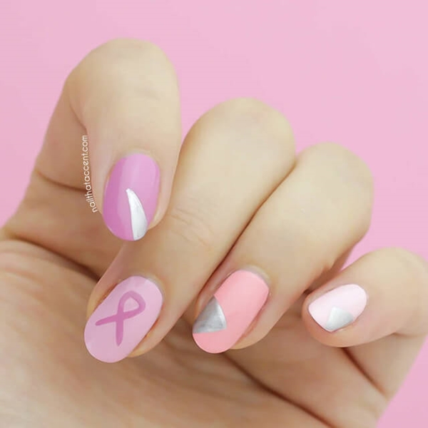 breast cancer nail art design