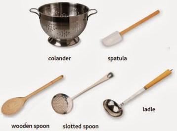 colander, spatula, wooden spoon, slotted spoon, ladle