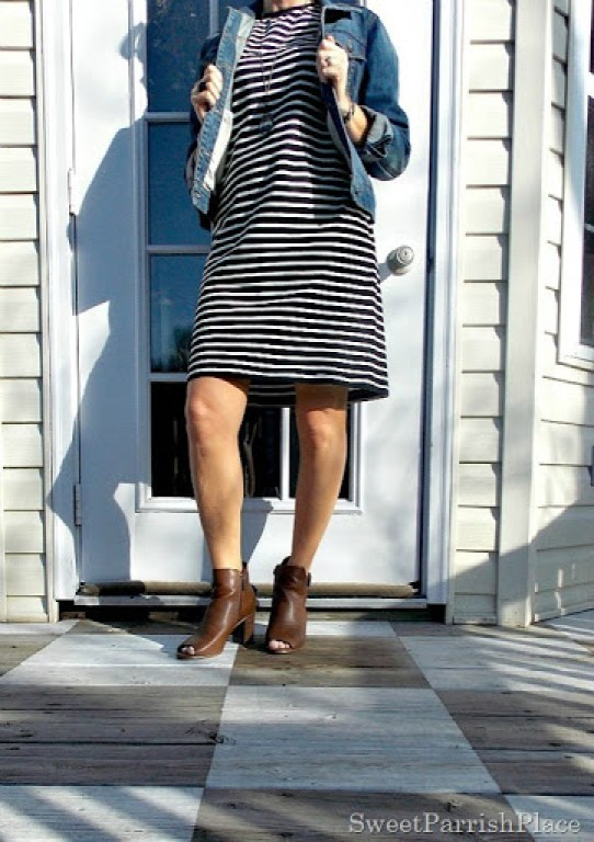 Black and white striped dress, denim jacket, brown peep toe booties2