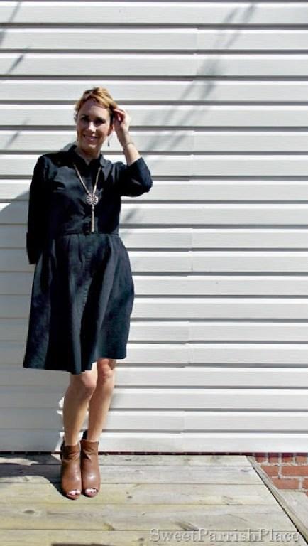Black dress, brown peep toe booties5