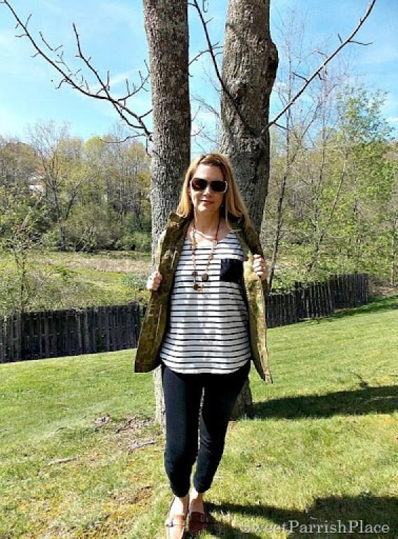 Black Leggings, Striped shirt, camoflauge jacket, brown loafers3