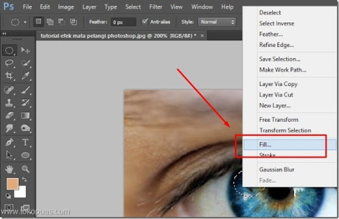tutorial efek mata pelangi photoshop trik
