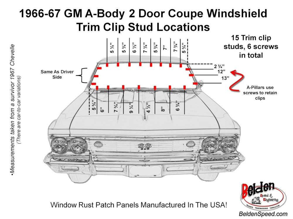medium resolution of 1966 1967 chevelle and all gm a body windshield trim clip stud locations