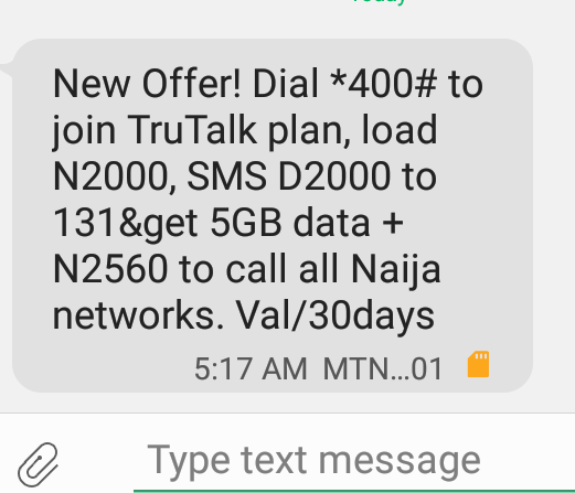 Get 5GB + N2560 For Just N2000 On MTN (MTN surprise) 2