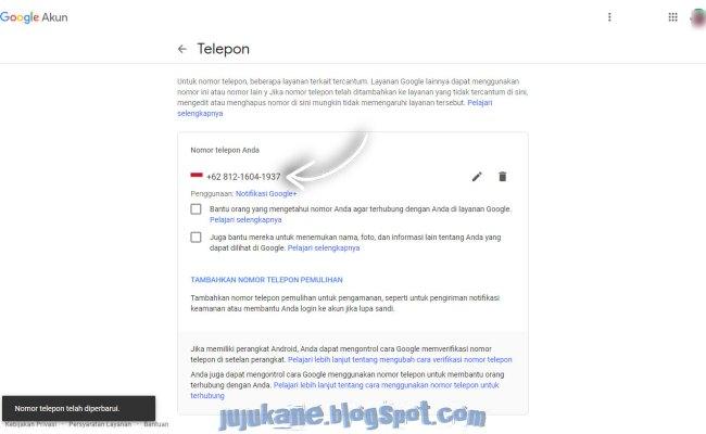 Lihat Cara Mengubah Nomor Telepon Di Gmail mudah