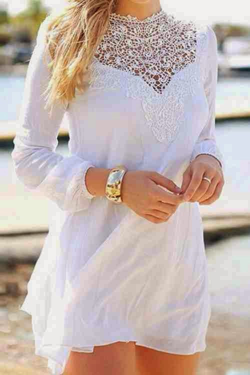 Round Neck Lace Splicing Long Sleeve Dress