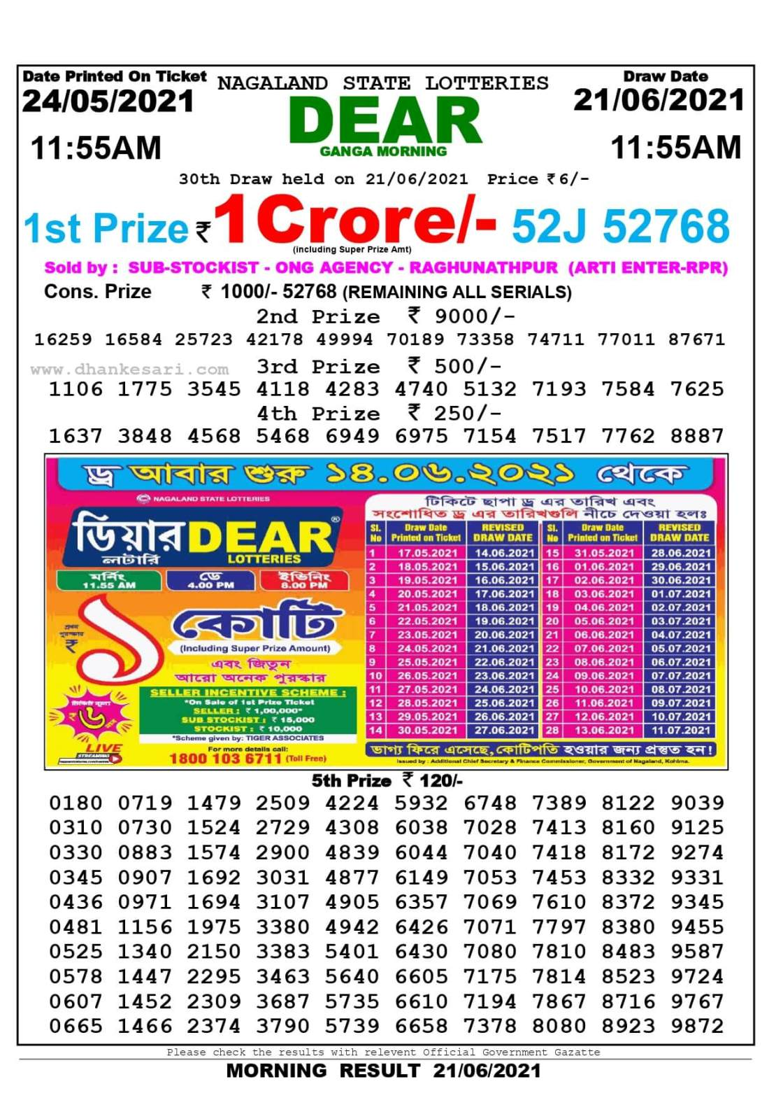 Nagaland State Lottery Result Today 11:55 AM 21.6.2021