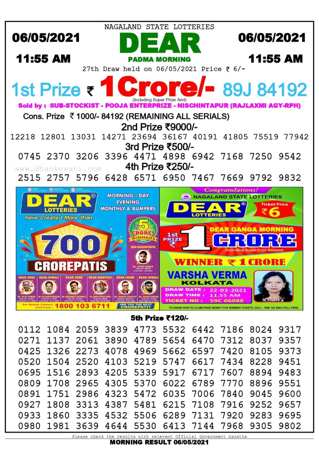 Dhankesari Lottery Sambad Result Today 11:55 AM 6.5.2021